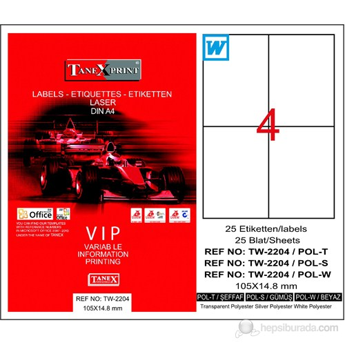 Tanex TW-2204 105x148,5 mm Polyester Laser Etiket 25 Ad.