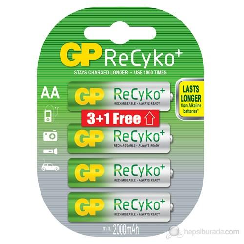 GP 4'lü (3+1) ReCyko Pro Ni-Mh Şarj Edilebilir AA Kalem Pil 2.000 mAh (GP210AAHC2P/6)