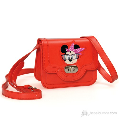 Minnie Mouse Omuz Çantası 14*12*6 cm (Kırmızı )
