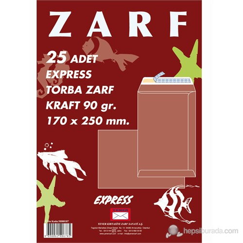 Yener Torba Zarf 187 170x250 Mm 90gr Kraft Express 25'Li