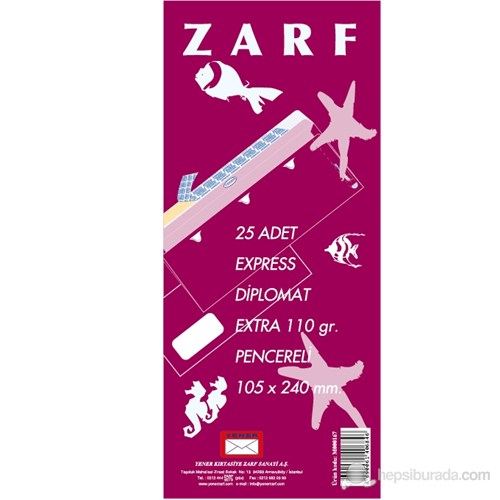 Yener M000167 Diplomat Zarf 105X240 110gr Extra Pen. 25'li