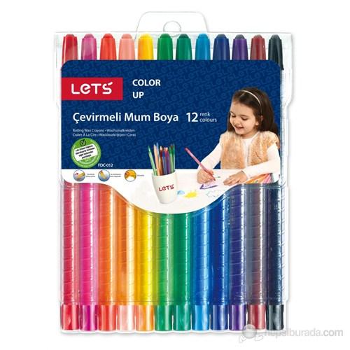 Lets Çevirmeli Mum Boya 12 Renk