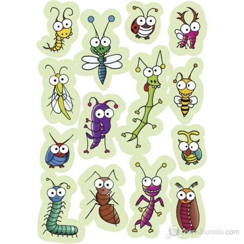 Herma Çocuk Etiketleri Oynar Göz Sevimli Böcekler