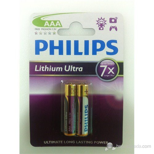 Philips FR03AAA Lityum Ultra 7X 2'Li AAA İnce Kalem Pil