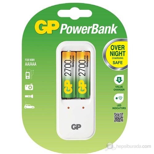 GP PowerBank PB410 2 x 2700 Kalem Pil Hediyeli Şarj Cihazı