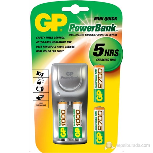 GP Powerbank MINI QUICK Pilli Şarj Cihazı GP2700 Şarjlı AA+AAA GP1000 Kalem Pil Hediyeli