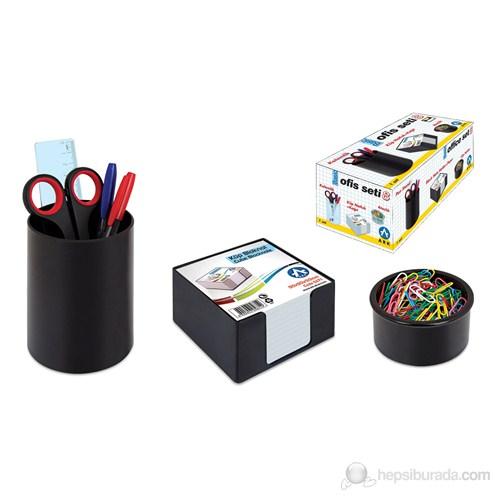 Ark Ofis Seti No:8 Siyah (Kalemlik + Küpnotluk + Kağıt + Ataşlık)