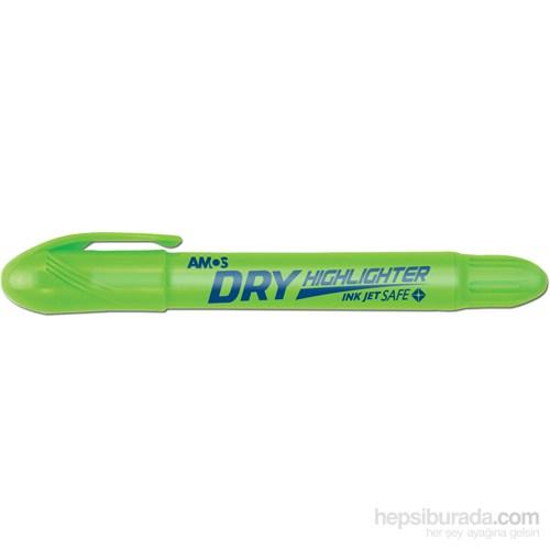 Amos Dry Highlighter Fosforlu Kalem Yeşil 12'Li Hld12Dgr