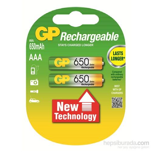 GP 2'li ReCyko 650 Serisi Ni-Mh Şarj Edilebilir AAA İnce Pil (GP65AAAHCEMTR-2GB2)