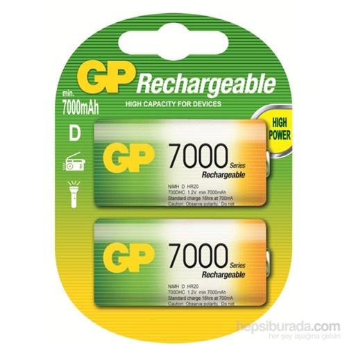 GP 2'li ReCyko 7000 Serisi Ni-Mh Şarj Edilebilir D Boy Kalın Pil (GP700DHEMTR-2GB2)
