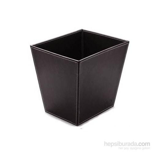 Mas Suni Deri Çöp Kovası Siyah 3852