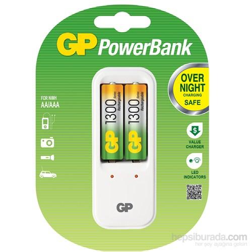 GP Powerbank PB410 Pil Şarj Cihazı 2 Adet 1300 Şarjlı Pil Hediyeli