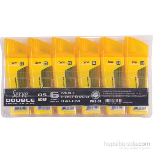Serve 2B 0.7 Fosforlu Kalem+80'li Kalem Ucu Tüpü 6'lı Pvc Paket eol