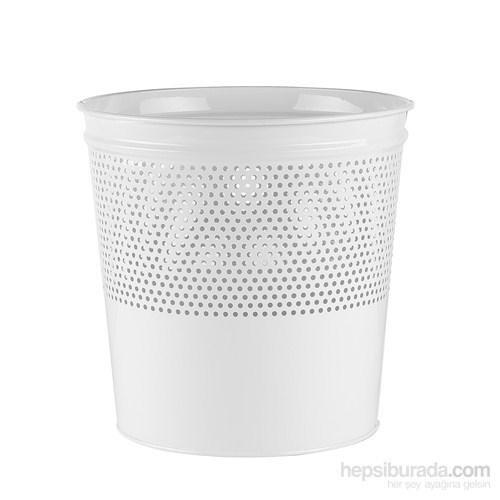 Büro Tipi Metal Çöp Kovası - Beyaz (Yarıya Kadar Delikli)