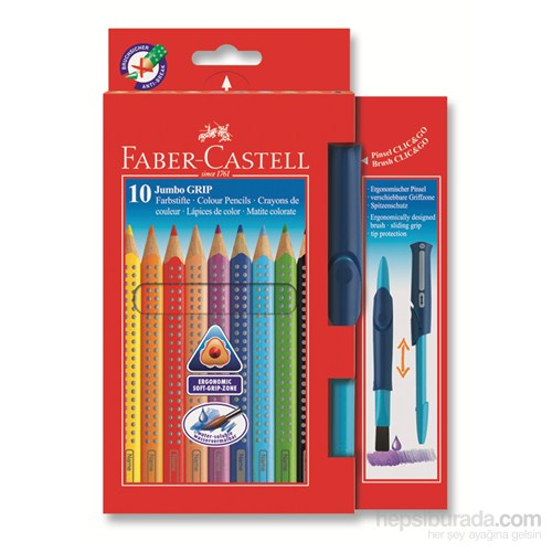 Faber-Castell Jumbo Grip Boya Kalemi 10 Renk - Suluboya Fırçalı (5170110914)