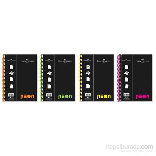 Faber-Castell PP Kapak A4 Defter Neon Renk Çizgili 100 Yaprak (5075400611)