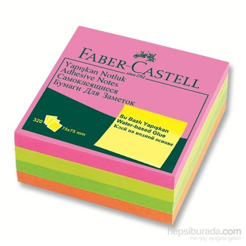 Faber-Castell Yapışkan Notluk 75x75mm Karışık Fosforlu Renkli Küp (85089565439)