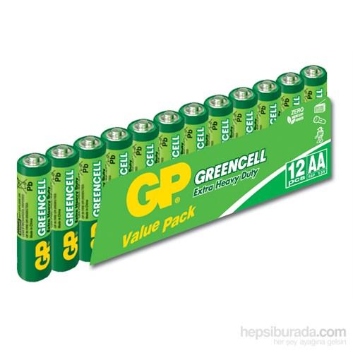 GP 12'li Greencel AA Boy Kalem Çinko Karbon Pil (GP15G-VS12)