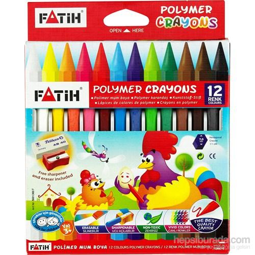 Fatih 12 Renk Uzun Crayon (Mum Boya) Pelikan Silgi+Kum Kalemtraş Hediyeli