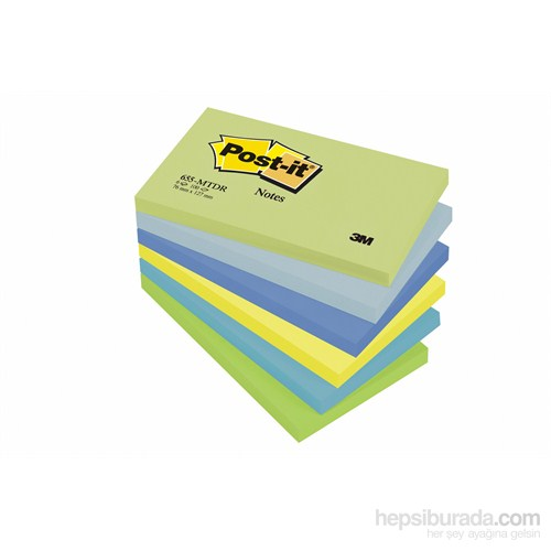 Post-it® Not, Mint Serisi, 5 renk x 6 blok, 100 yaprak, 76x127mm
