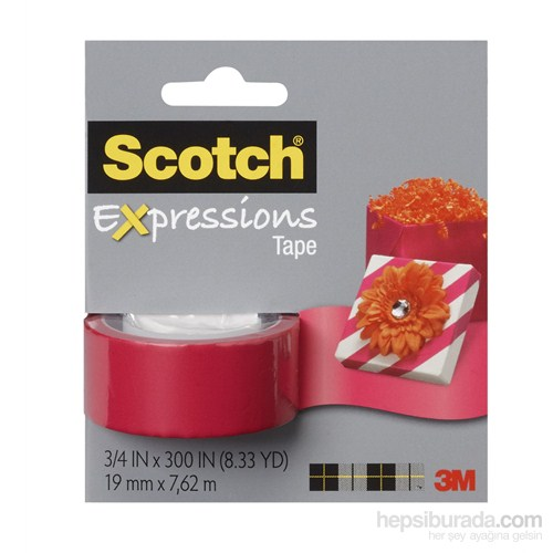 Scotch® Renkli Bant Kırmızı 19mm x 7,62m