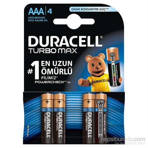 Duracell Turbo Max Alkalin AAA İnce Kalem Pil 4'lü Paket