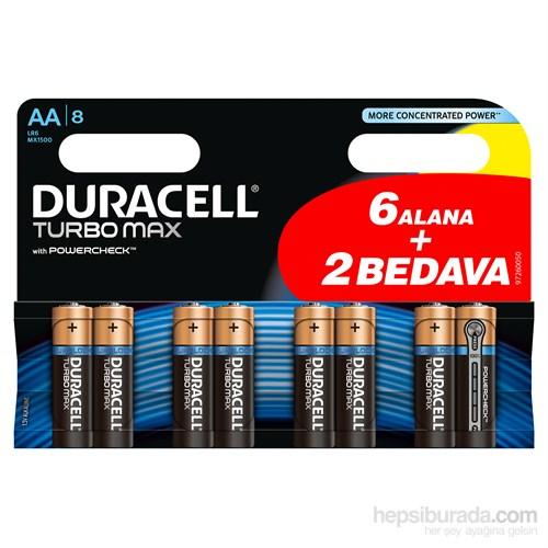 Duracell Turbo Max Alkalin AA Kalem Pil (6+2) 8'li Paket