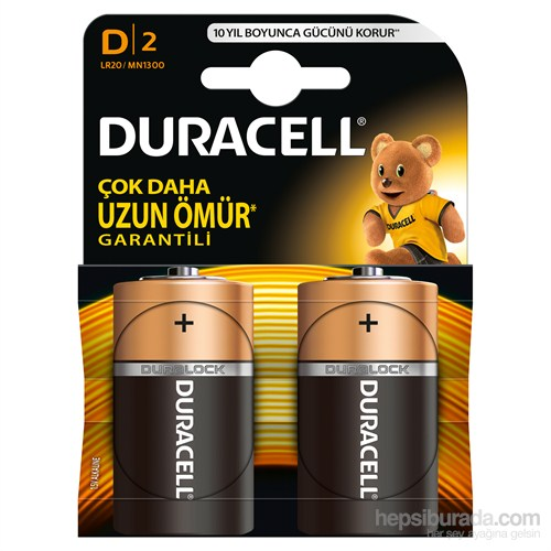 Duracell Alkalin D Büyük Boy Pil 2'li Paket