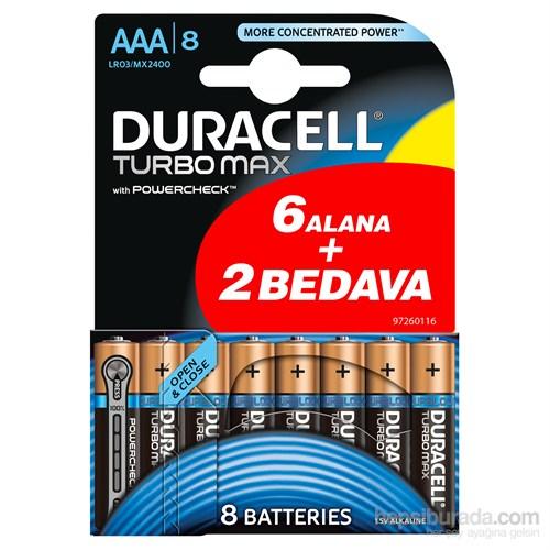 Duracell Turbo Max Alkalin AAA İnce Kalem Pil (6+2) 8'li Paket