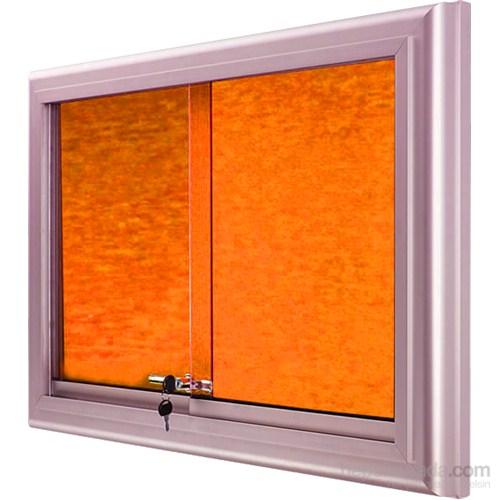 Akyazı 60x90 Alüminyum Camekanlı Kumaşlı Pano (Turuncu)