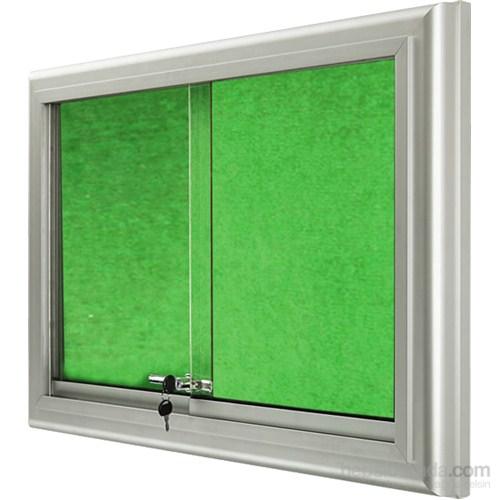 Akyazı 90x150 Ahşap Camekanlı Kumaşlı Pano (Yeşil)