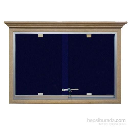 Akyazı 90x150 Ahşap Camekanlı Kumaşlı Pano (Mavi)