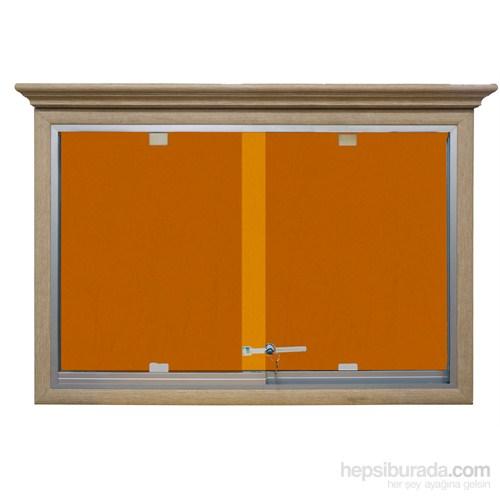 Akyazı 90x150 Ahşap Camekanlı Kumaşlı Pano (Turuncu)