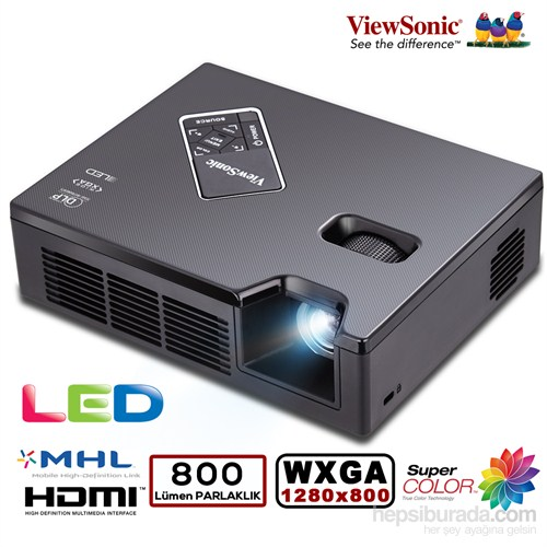 Viewsonic PLED-W800 800 Ansilümen 1280x800 WXGA 120.000:1 Projeksiyon Cİhazı