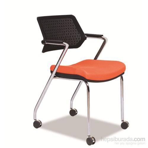Nav Decoration Sundy Tekerlekli Toplantı Sandalyesi Turuncu