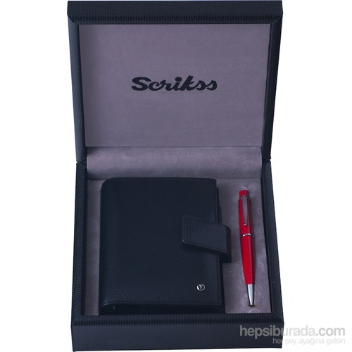 Scrikks SDR 306 Cep Ajanda Siyah + 62 Tükenmez Kalem Kırmızı Set