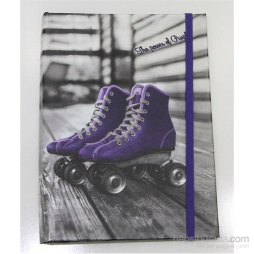 Liz 14x20 Black Purple Seri Ofset Kapak 96.Yp. Lastikli Kareli Ivory Defter