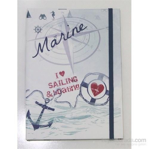 Liz 14x20 Marine Seri Ofset Kapak 96.Yp. Lastikli Kareli Ivory Defter