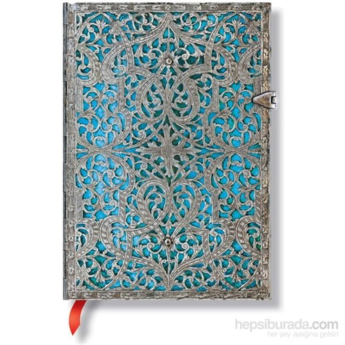 Paperblanks 2562-7 Silver Filigree Midi Çizgili Defter