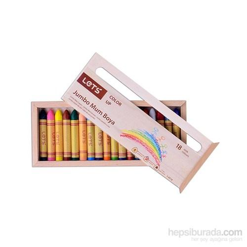 Lets 18 Renk Jumbo Mum Boya Ahşap Kutu L-6518