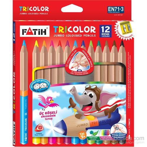 Fatih Tricolor Üçgen Tam Boy Kuruboya 12 Renk