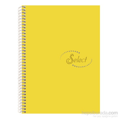 Notte 60110 Select Sarı Plastik Kapak Spiralli A4 120 Yaprak Çizgisiz