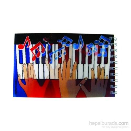 Piyano Çalan Eller Hologramlı Spiral Notluk