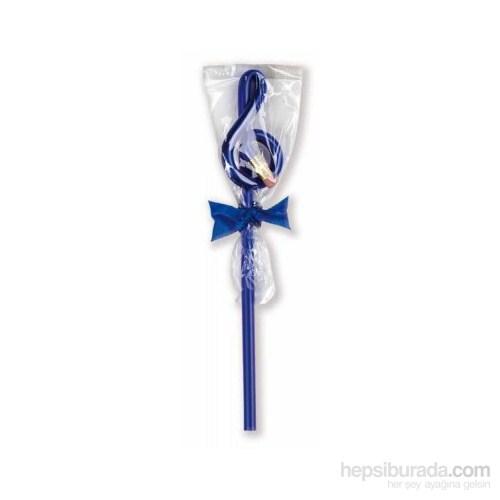 Hediyelik Sol Anahtar Başlıklı Silgili Kurşun Kalem Mavi