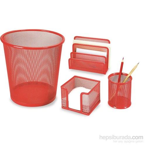 Gıpta 4 Parça Metal Ofis Seti Kırmızı