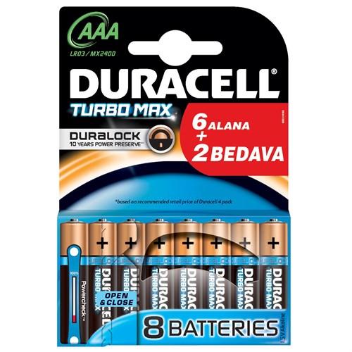 Duracell Turbo Max Alkalin Aaa İnce Kalem Pil 6+2 Adet