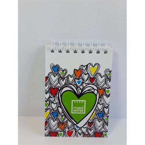 Make Notes Renklı Kalpler A7 Defter