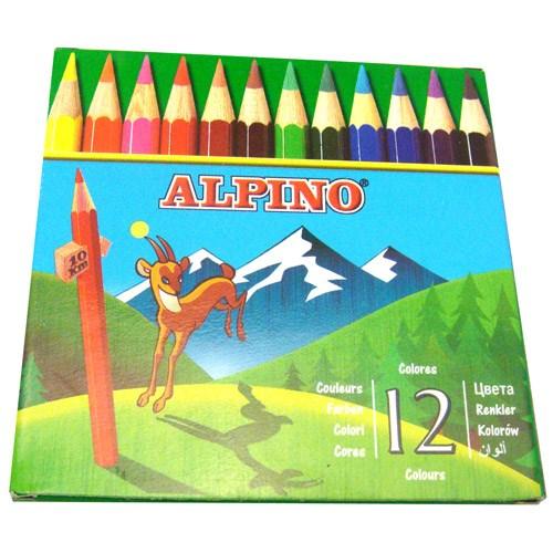 Alpino 12 Renk Yarım Kuruboya Kalemi AL652 Yarım Boy