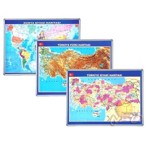 İnter 70x100 Dünya Fiziki Haritası Alüminyum Çerçeveli INT-818