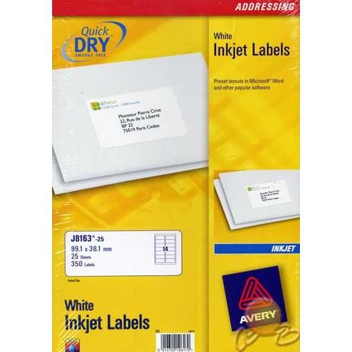Avery 99,1 x 38,1 INKJET Adres Etiketi J8163-25